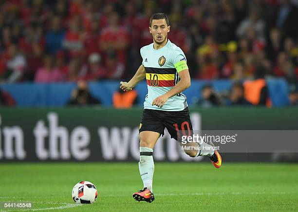 Eden Hazard of Belgium in action during the UEFA EURO 2016 quarter final match between Wales and Belgium at Stade PierreMauroy on July 1 2016 in...