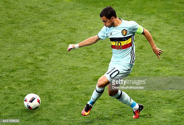Eden Hazard of Belgium in action during the UEFA EURO 2016 round of 16 match between Hungary and Belgium at Stadium Municipal on June 26 2016 in...
