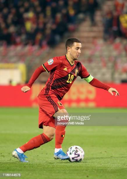 Eden Hazard of Belgium in action during the UEFA Euro 2020 Qualifier between Belgium and Cyprus on November 19, 2019 in Brussels, Belgium.