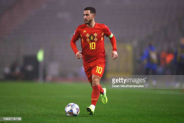 Eden Hazard of Belgium in action during the UEFA Nations League A group two match between Belgium and Iceland at King Baudouin Stadium on November 15...