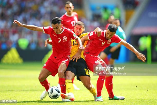 Eden Hazard of Belgium in action with Saifeddine Khaoui and Anice Badri of Tunisia during the 2018 FIFA World Cup Russia group G match between...