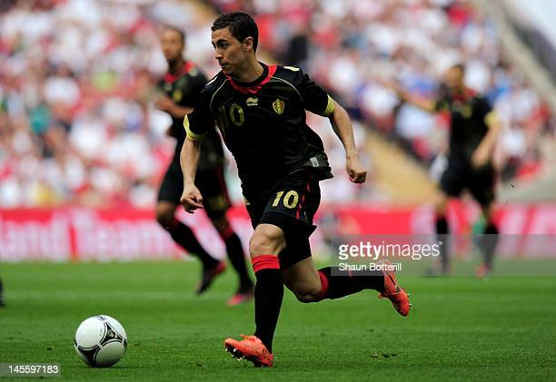 Eden Hazard of Belgium in the ball during the international friendly match between England and Belgium at Wembley Stadium on June 2 2012 in London...