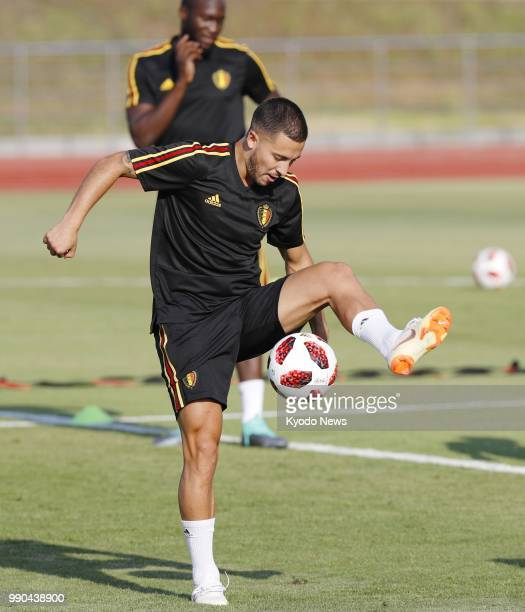 Eden Hazard of Belgium is pictured during a training session in RostovOnDon Russia on July 1 ahead of a World Cup roundof16 match against Japan...