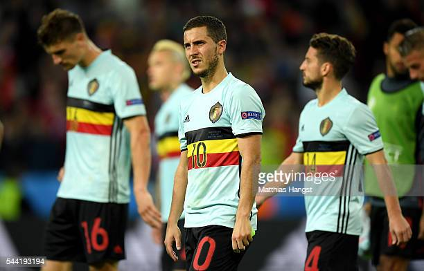 Eden Hazard of Belgium leaves the pitch after his team's 13 defeat in the UEFA EURO 2016 quarter final match between Wales and Belgium at Stade...