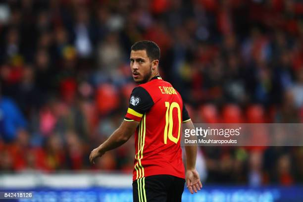Eden Hazard of Belgium looks on during the FIFA 2018 World Cup Qualifier between Belgium and Gibraltar at Stade Maurice Dufrasne on August 31 2017 in...