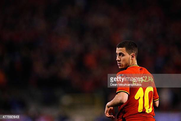 Eden Hazard of Belgium looks on during the International Friendly match between Belgium and Ivory Coast at The King Baudouin Stadium on March 5 2014...