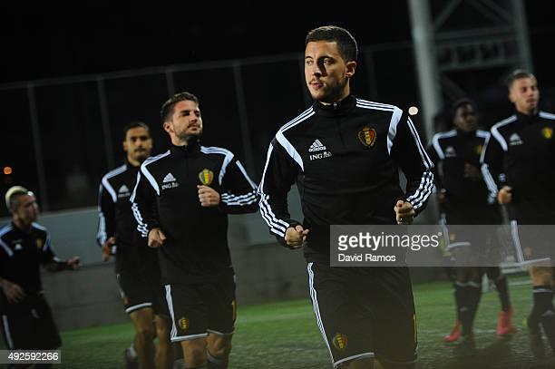 Eden Hazard of Belgium looks on during the warm up priot to the UEFA EURO 2016 Qualifier match between Andorra and Belgium at Estadi Nacional...