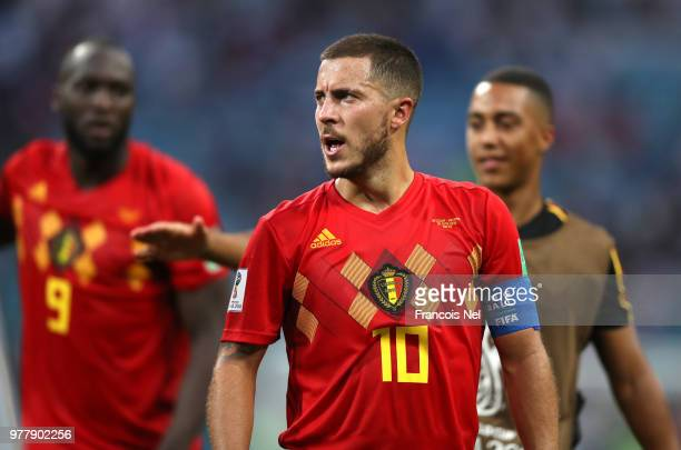 Eden Hazard of Belgium looks on following the 2018 FIFA World Cup Russia group G match between Belgium and Panama at Fisht Stadium on June 18 2018 in...