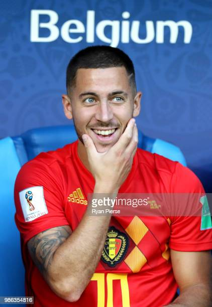 Eden Hazard of Belgium looks on from the bench prior to the 2018 FIFA World Cup Russia group G match between England and Belgium at Kaliningrad...