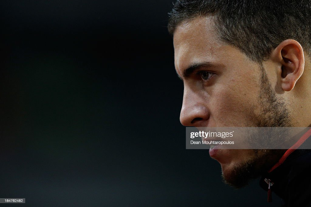 Eden Hazard of Belgium looks on prior to the FIFA 2014 World Cup Qualifying Group A match between Belgium and Wales at King Baudouin Stadium on October 15, 2013 in Brussels, Belgium.