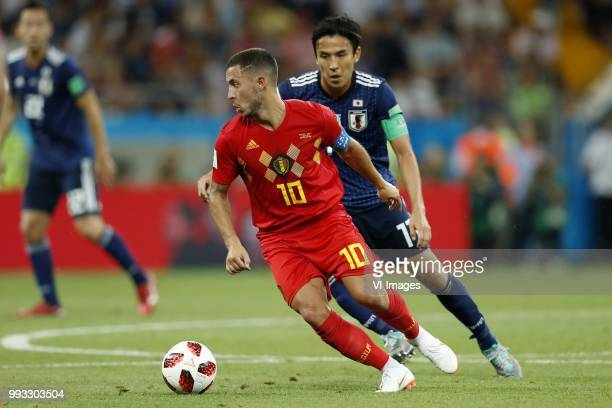 Eden Hazard of Belgium Makoto Hasebe of Japan during the 2018 FIFA World Cup Russia round of 16 match between Belgium and Japan at the Rostov Arena...