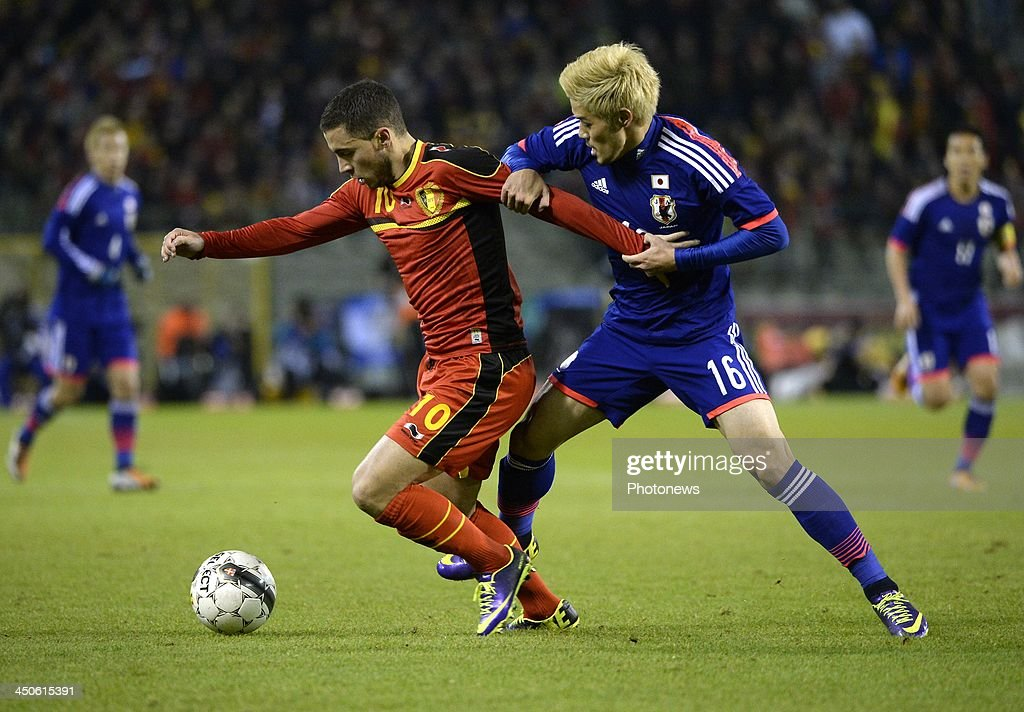 Eden Hazard of Belgium pictured during the international friendly match before the World Cup in Brasil between Belgium and Japan on November 19, 2013 in Brussels, Belgium