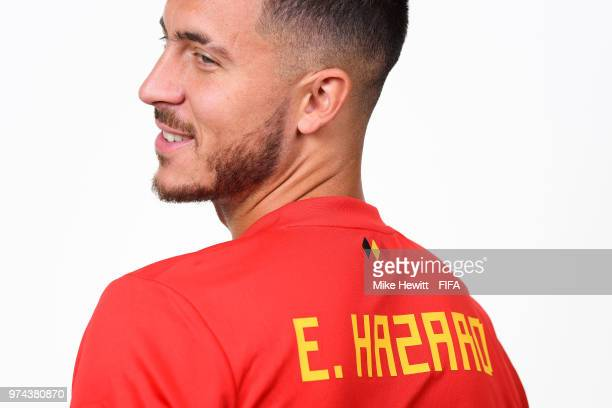 Eden Hazard of Belgium poses for a portrait during the official FIFA World Cup 2018 portrait session at the Moscow Country Club on June 14 2018 in...