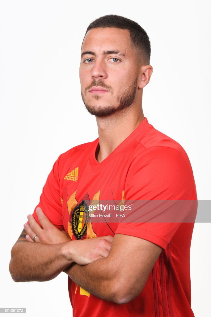Eden Hazard of Belgium poses for a portrait during the official FIFA World Cup 2018 portrait session at the Moscow Country Club on June 14, 2018 in Moscow, Russia.
