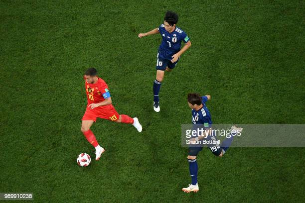 Eden Hazard of Belgium runs with the ball during the 2018 FIFA World Cup Russia Round of 16 match between Belgium and Japan at Rostov Arena on July...