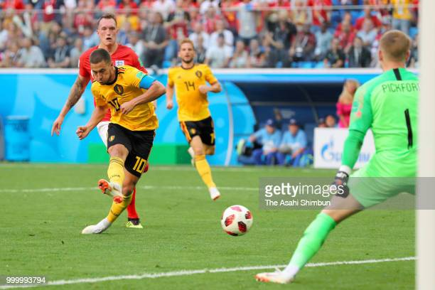 Eden Hazard of Belgium scores his side's second goal during the FIFA 2018 World Cup Russia Playoff for third place match between Belgium and England...