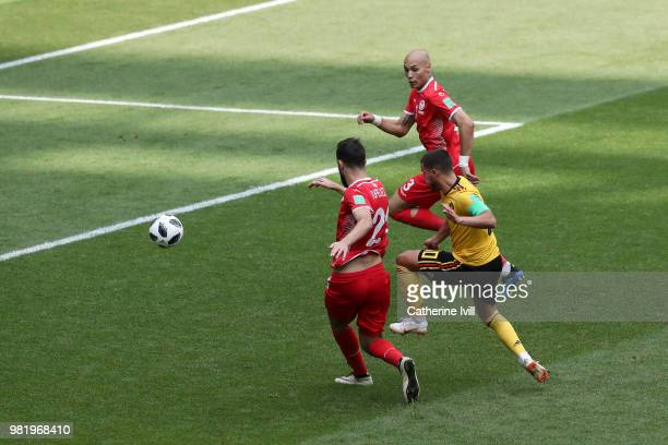 Eden Hazard of Belgium scores his team's fourth goal during the 2018 FIFA World Cup Russia group G match between Belgium and Tunisia at Spartak...