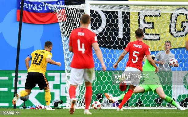 Eden Hazard of Belgium scores his team's second goal during the 2018 FIFA World Cup Russia 3rd Place Playoff match between Belgium and England at...