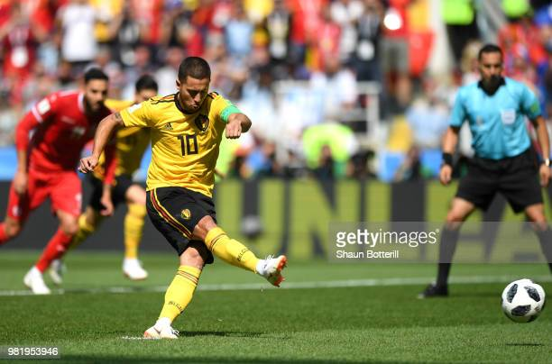 Eden Hazard of Belgium scores the opening goal from a penalty during the 2018 FIFA World Cup Russia group G match between Belgium and Tunisia at...