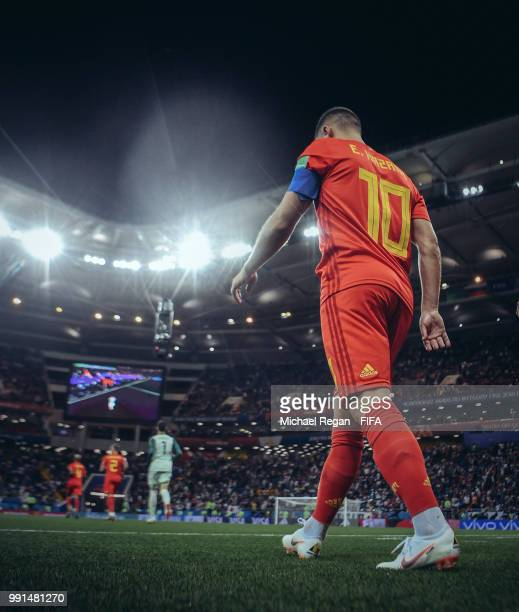 Eden Hazard of Belgium walks out for the 2nd half during the 2018 FIFA World Cup Russia Round of 16 match between Belgium and Japan at Rostov Arena...