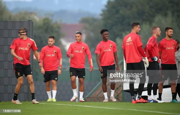 Eden Hazard of Belgium, Youri Tielemans of Belgium and Albert Sambi Lokonga of Belgium during a training session of the Belgian national soccer team...