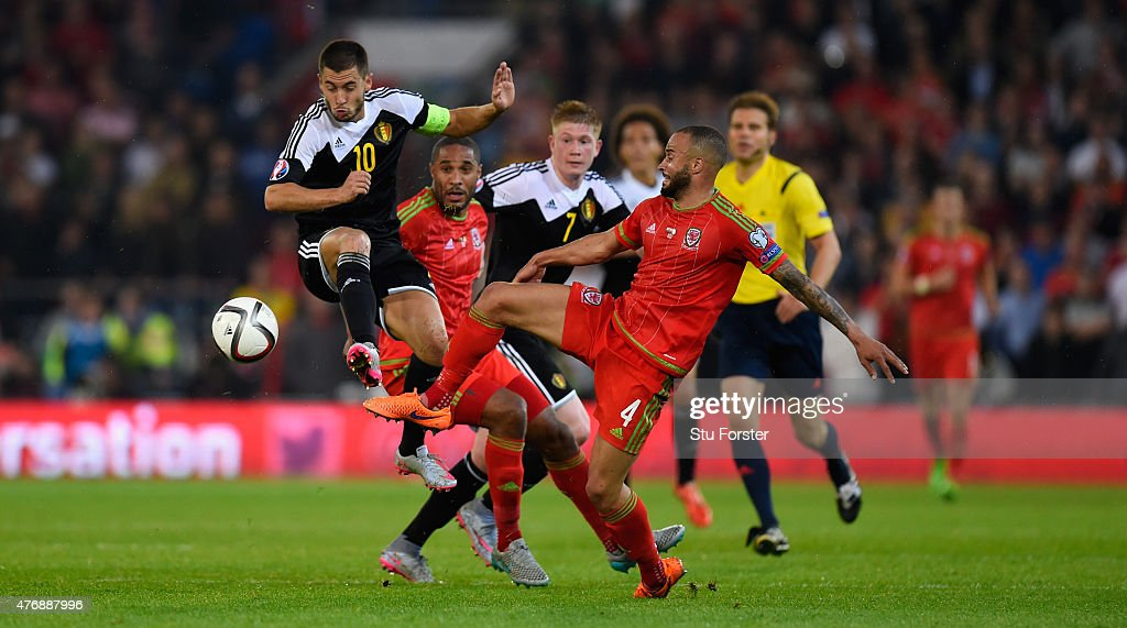 Eden Hazard of Belguim (c) in action during the UEFA EURO Group B 2016 Qualifier between Wales and Belguim at Cardiff City stadium on June 12, 2015 in Cardiff, United Kingdom.