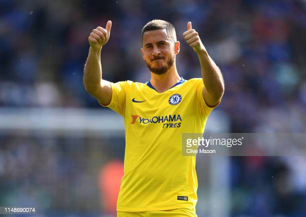 Eden Hazard of Chelsea acknowledges the fans after the Premier League match between Leicester City and Chelsea FC at The King Power Stadium on May 12...