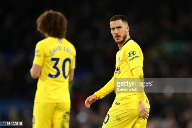 Eden Hazard of Chelsea after the match during the Premier League match between Everton FC and Chelsea FC at Goodison Park on March 17 2019 in...