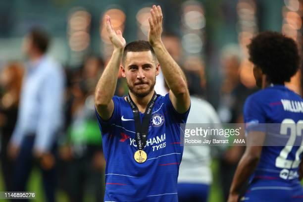 Eden Hazard of Chelsea after the UEFA Europa League Final between Chelsea and Arsenal at Baku Olimpiya Stadionu on May 29, 2019 in Baku, Azerbaijan.