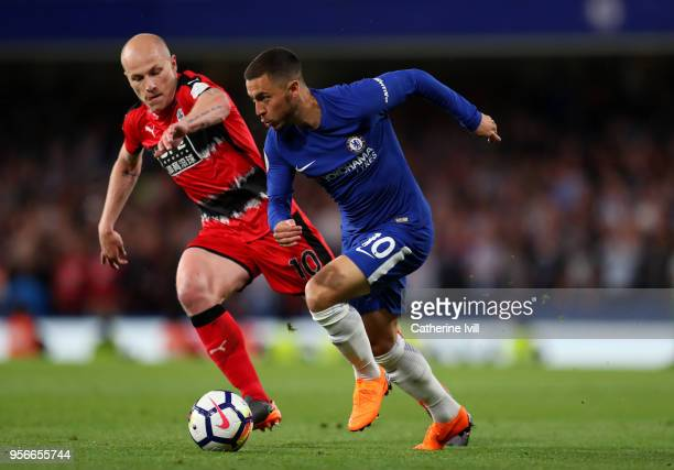 Eden Hazard of Chelsea and Aaron Mooy of Huddersfield Town during the Premier League match between Chelsea and Huddersfield Town at Stamford Bridge...