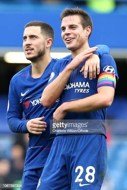 Eden Hazard of Chelsea and Cesar Azpilicueta of Chelsea celebrate their victory during the Premier League match between Chelsea FC and Fulham FC at...