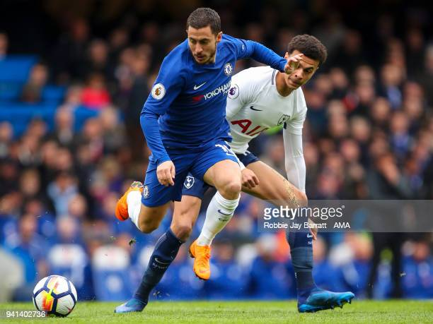 Eden Hazard of Chelsea and Dele Alli of Tottenham Hotspur during the Premier League match between Chelsea and Tottenham Hotspur at Stamford Bridge on...