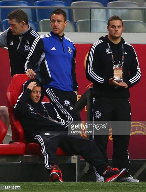 Eden Hazard of Chelsea and John Terry of Chelsea look on from the bench during a Chelsea training session ahead of the UEFA Europa League Final match...