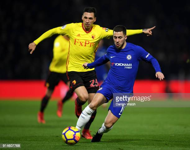 Eden Hazard of Chelsea and Jose Holebas of Watford during the Premier League match between Watford and Chelsea at Vicarage Road on February 5 2018 in...