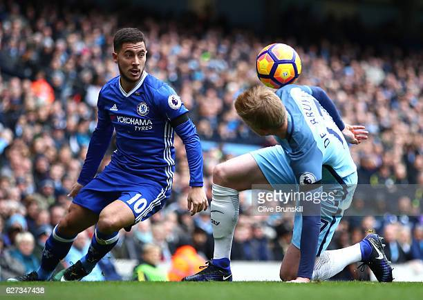Eden Hazard of Chelsea and Kevin De Bruyne of Manchester City compete for the ball during the Premier League match between Manchester City and...