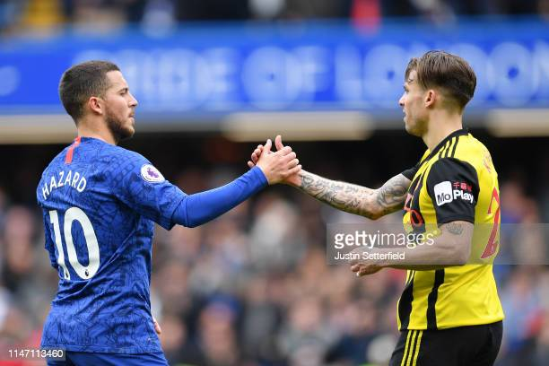 Eden Hazard of Chelsea and Kiko Femenia of Watford shake hands after the Premier League match between Chelsea FC and Watford FC at Stamford Bridge on...