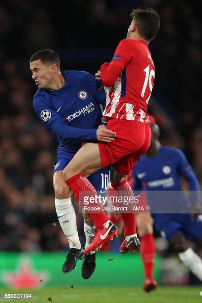 Eden Hazard of Chelsea and Lucas Hernandez of Atletico Madrid during the UEFA Champions League group C match between Chelsea FC and Atletico Madrid...