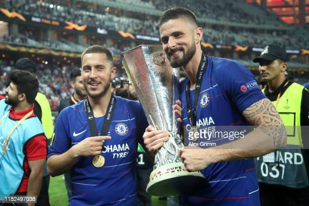 Eden Hazard of Chelsea and Olivier Giroud of Chelsea celebrate with the Europa League Trophy following there team's victory in the UEFA Europa League...