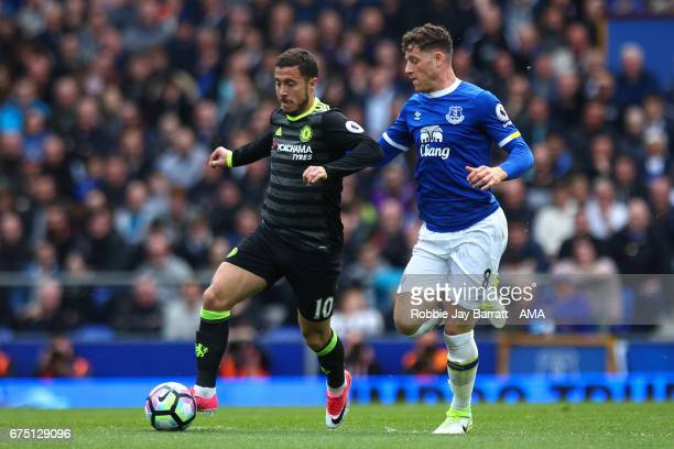 Eden Hazard of Chelsea and Ross Barkley of Everton during the Premier League match between Everton and Chelsea at Goodison Park on April 30 2017 in...