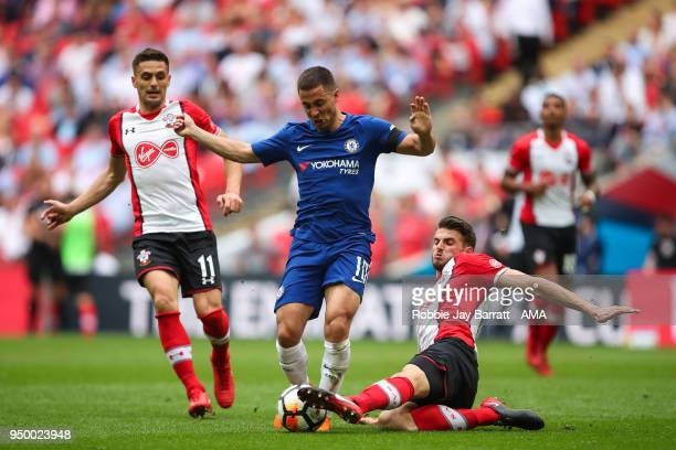 Eden Hazard of Chelsea and Wesley Hoedt of Southampton during The Emirates FA Cup Semi Final match between Chelsea and Southampton at Wembley Stadium...