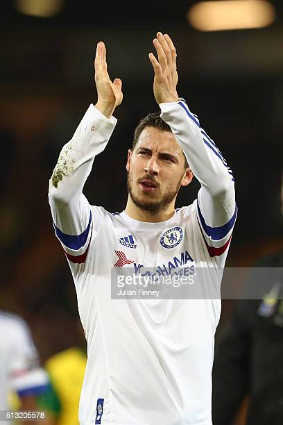 Eden Hazard of Chelsea applauds away supporters after his team's 21 win in the Barclays Premier League match between Norwich City and Chelsea at...