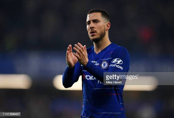 Eden Hazard of Chelsea applauds the crowd after the Premier League match between Chelsea FC and West Ham United at Stamford Bridge on April 08 2019...