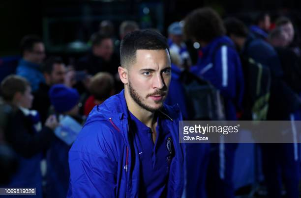 Eden Hazard of Chelsea arrives at the stadium prior to the Premier League match between Chelsea FC and Manchester City at Stamford Bridge on December...