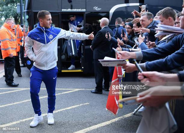 Eden Hazard of Chelsea arrives at the stadium prior to the Premier League match between AFC Bournemouth and Chelsea at Vitality Stadium on October 28...