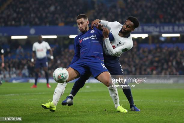 Eden Hazard of Chelsea battles with Danny Rose of Tottenham Hotspur during the Carabao Cup SemiFinal Second Leg match between Chelsea and Tottenham...