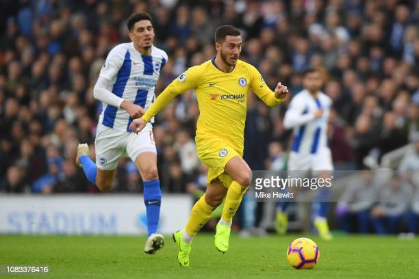 Eden Hazard of Chelsea breaks away to score during the Premier League match between Brighton Hove Albion and Chelsea FC at American Express Community...