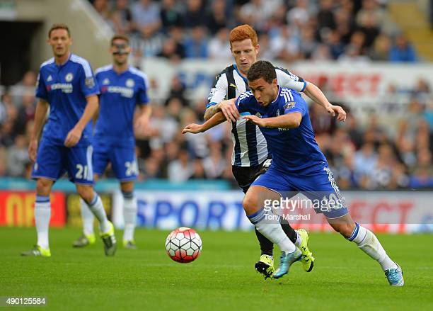 Eden Hazard of Chelsea breaks clear of Jack Colback of Newcastle United during the Barclays Premier League match between Newcastle United and Chelsea...