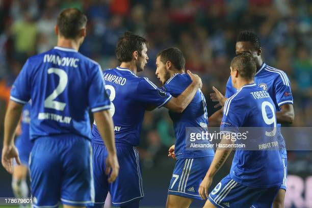 Eden Hazard of Chelsea ceebrates scoring the 2nd team goal with his team mate Frank Lampard during the UEFA Super Cup between FC Bayern Muenchen and...