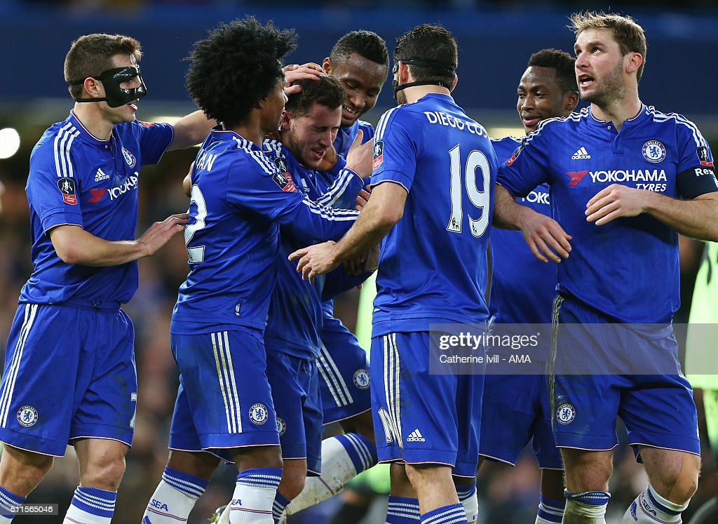 Eden Hazard of Chelsea celebrates after he scores a goal from a free kick to make it 4-1 during the Emirates FA Cup match between Chelsea and Manchester City at Stamford Bridge on February 21, 2016 in London, England.