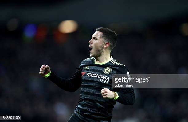 Eden Hazard of Chelsea celebrates after he scores his side first goal during the Premier League match between West Ham United and Chelsea at London...